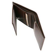 イタリア製フルグレインレザーのIDケースつきクレジットカード&紙幣入れ財布、ダークブラウン、詳細3