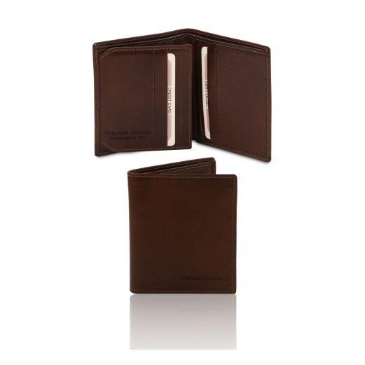 イタリア製フルグレインレザーのIDケースつきクレジットカード&紙幣入れ財布、ダークブラウン