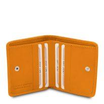 イタリア製ベジタブルタンニンレザーのコインケースつきふたつ折り財布、イエロー、詳細4