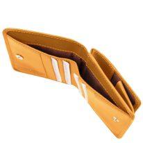 イタリア製ベジタブルタンニンレザーのコインケースつきふたつ折り財布、イエロー、詳細5