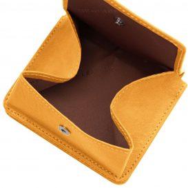 イタリア製ベジタブルタンニンレザーのコインケースつきふたつ折り財布、イエロー、詳細6