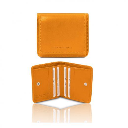 イタリア製ベジタブルタンニンレザーのコインケースつきふたつ折り財布、イエロー