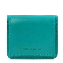 イタリア製ベジタブルタンニンレザーのコインケースつきふたつ折り財布、ターコイズ、詳細1