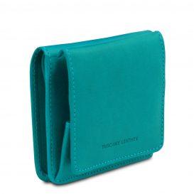 イタリア製ベジタブルタンニンレザーのコインケースつきふたつ折り財布、ターコイズ、詳細2