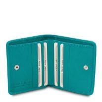 イタリア製ベジタブルタンニンレザーのコインケースつきふたつ折り財布、ターコイズ、詳細4