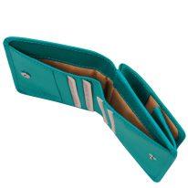イタリア製ベジタブルタンニンレザーのコインケースつきふたつ折り財布、ターコイズ、詳細5