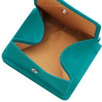 イタリア製ベジタブルタンニンレザーのコインケースつきふたつ折り財布、ターコイズ、詳細6