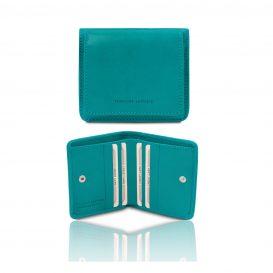 イタリア製ベジタブルタンニンレザーのコインケースつきふたつ折り財布、ターコイズ