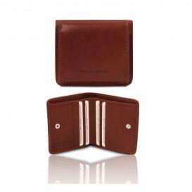 イタリア製ベジタブルタンニンレザーのコインケースつきふたつ折り財布、ブラウン
