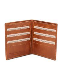 イタリア製フルグレインレザーのクレジットカード&紙幣入れ財布、ハニー、詳細1