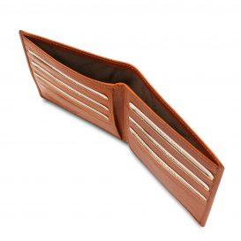 イタリア製フルグレインレザーのクレジットカード&紙幣入れ財布、ハニー、詳細2
