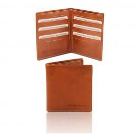 イタリア製フルグレインレザーのクレジットカード&紙幣入れ財布、ハニー