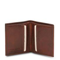 イタリア製フルグレインレザーのクレジットカード&紙幣入れ財布、ブラウン、詳細1