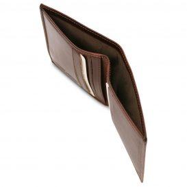 イタリア製フルグレインレザーのクレジットカード&紙幣入れ財布、ブラウン、詳細2