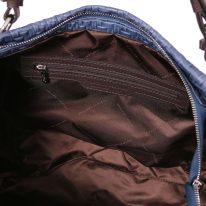 イタリア製イントレチャート編み込み風レザーのタッセルつき2WAYトートバッグ TL BAG、ダークブルー、詳細4