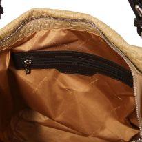 イタリア製イントレチャート編み込み風レザーのタッセルつき2WAYトートバッグ TL BAG、ベージュ、詳細4