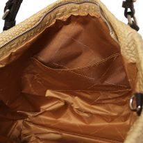 イタリア製イントレチャート編み込み風レザーのタッセルつき2WAYトートバッグ TL BAG、ベージュ、詳細5
