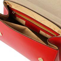 イタリア製パルメラートレザーのゴールドチェーンストラップ付ハンドバッグ TL BAG-Sサイズ、ルージュ、詳細4