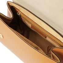 イタリア製パルメラートレザーのゴールドチェーンストラップ付ハンドバッグ TL BAG-Lサイズ、コニャック、詳細4