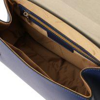 イタリア製パルメラートレザーのゴールドチェーンストラップ付ハンドバッグ TL BAG-Lサイズ、ダークブルー、詳細4