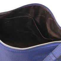 イタリア製シボ型押しレザーのワンハンドルショルダーバッグ TL BAG、ダークブルー、詳細4