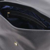 イタリア製シボ型押しレザーのワンハンドルショルダーバッグ TL BAG2、ブラック、詳細3
