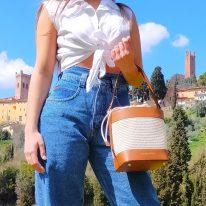 イタリア製ストロー&スムースレザー2WAY巾着かごバッグ LOUISE、イメージ2