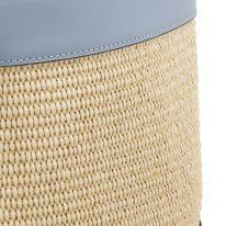 イタリア製ストロー&スムースレザー2WAY巾着かごバッグ LOUISE、かご部分アップ1
