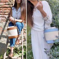 イタリア製ストロー&スムースレザー2WAY巾着かごバッグ LOUISE、イメージ