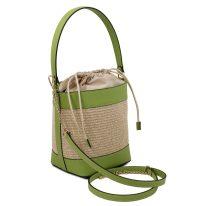 イタリア製ストロー&スムースレザー2WAY巾着かごバッグ LOUISE、グリーン、詳細1