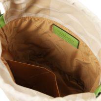 イタリア製ストロー&スムースレザー2WAY巾着かごバッグ LOUISE、グリーン、詳細3