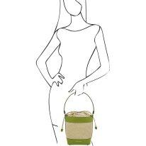 イタリア製ストロー&スムースレザー2WAY巾着かごバッグ LOUISE、グリーン、詳細4