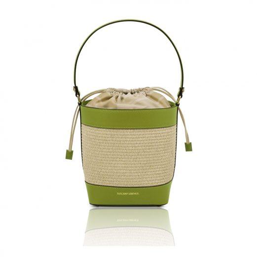 イタリア製ストロー&スムースレザー2WAY巾着かごバッグ LOUISE、グリーン