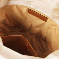 イタリア製ストロー&スムースレザー2WAY巾着かごバッグ LOUISE、コニャック、詳細3