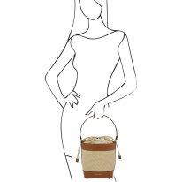 イタリア製ストロー&スムースレザー2WAY巾着かごバッグ LOUISE、コニャック、詳細4
