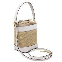 イタリア製ストロー&スムースレザー2WAY巾着かごバッグ LOUISE、ホワイト、詳細1