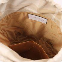 イタリア製ストロー&スムースレザー2WAY巾着かごバッグ LOUISE、ホワイト、詳細3