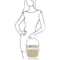 イタリア製ストロー&スムースレザー2WAY巾着かごバッグ LOUISE、ホワイト、詳細4