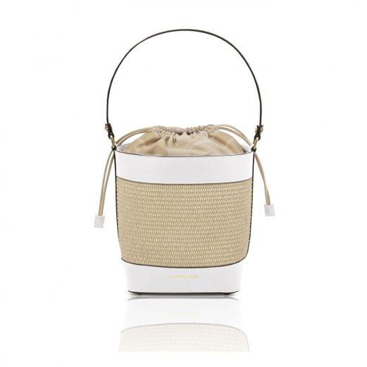 イタリア製ストロー&スムースレザー2WAY巾着かごバッグ LOUISE、ホワイト