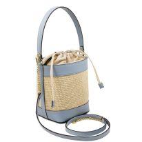イタリア製ストロー&スムースレザー2WAY巾着かごバッグ LOUISE、ライトブルー、詳細1