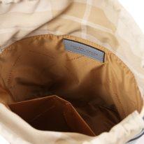 イタリア製ストロー&スムースレザー2WAY巾着かごバッグ LOUISE、ライトブルー、詳細3