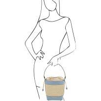 イタリア製ストロー&スムースレザー2WAY巾着かごバッグ LOUISE、ライトブルー、詳細4