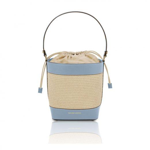 イタリア製ストロー&スムースレザー2WAY巾着かごバッグ LOUISE、ライトブルー
