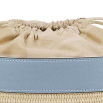 イタリア製ストロー&スムースレザー2WAY巾着かごバッグ LOUISE、布生地アップ