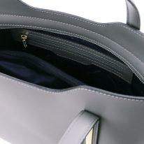 イタリア製スムースレザー2WAYトートバッグMサイズ OLIMPIA、グレイ、詳細4