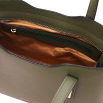 イタリア製スムースレザー2WAYトートバッグSサイズ OLIMPIA、フォレストグリーン、詳細3