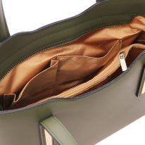 イタリア製スムースレザー2WAYトートバッグSサイズ OLIMPIA、フォレストグリーン、詳細4