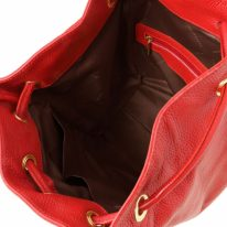 イタリア製シボ型押しレザーのフロントポケット・リュックTL BAG、ルージュ、詳細3