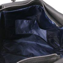 イタリア製シボ型押しレザーのタッセルつき2WAYトートバッグ TL BAG、ブラック、詳細5