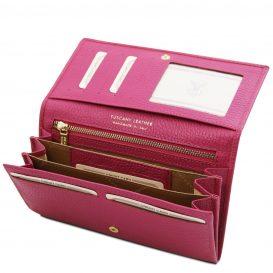 イタリア製シボ型押しレザーのレディース長財布 NEFTI、フーシャピンク、詳細3